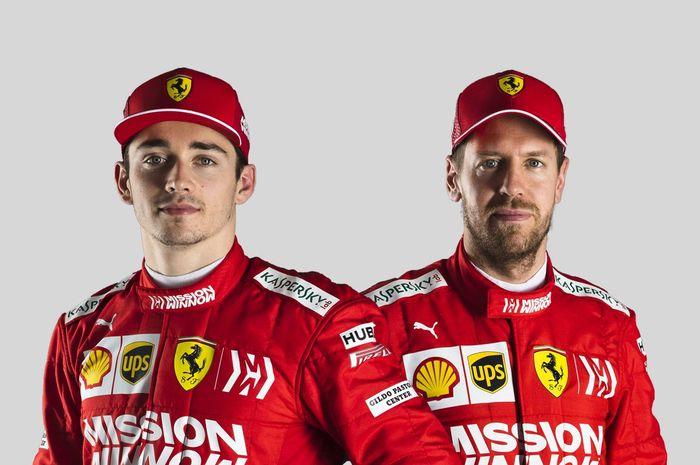 Duet pembalap Ferrari untuk F1 2019, Charles Leclerc (kiri) dan Sebastian Vettel (kanan).