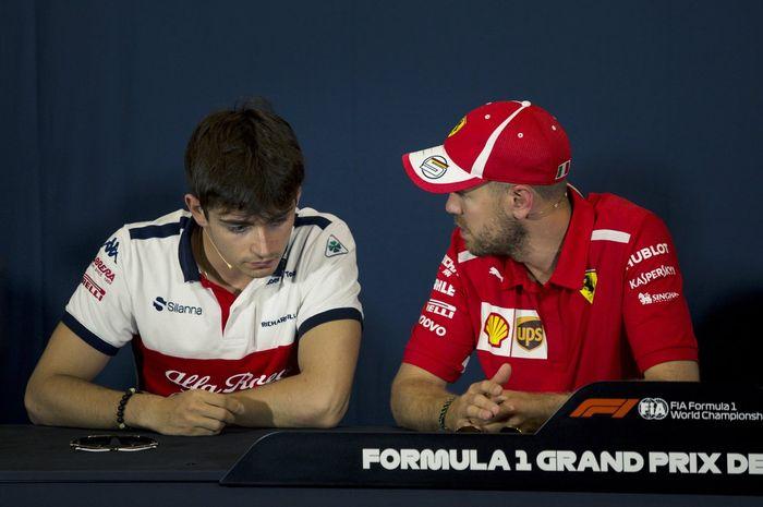 Charles Leclerc (kiri) dan Sebastian Vettel akan bersaing memperebutkan gelar juara dunia untuk Ferrari