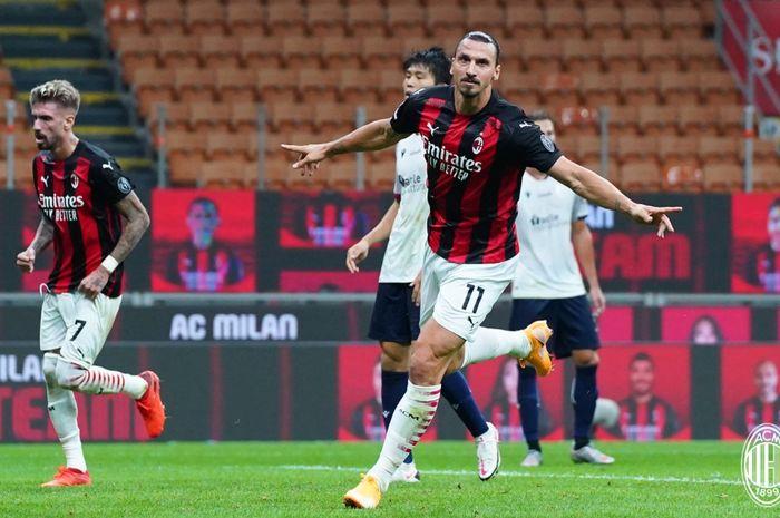 Zlatan Ibrahimovic mencetak 2 gol untuk AC Milan pada pekan pertama Liga Italia 2020-2021.