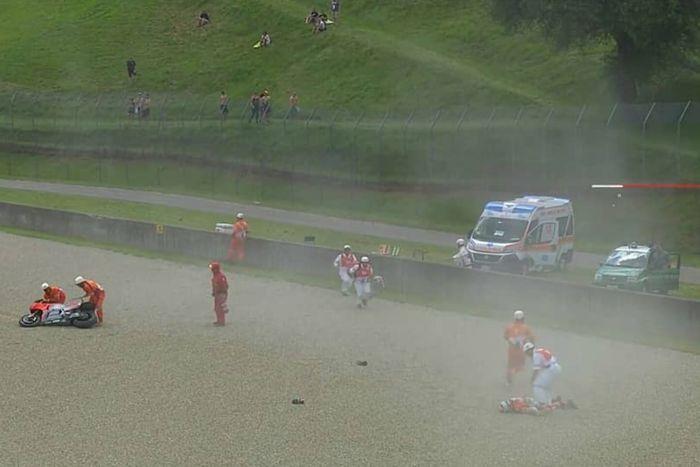 Michele Pirro saat kecelakaan di FP2 MotoGP Italia.