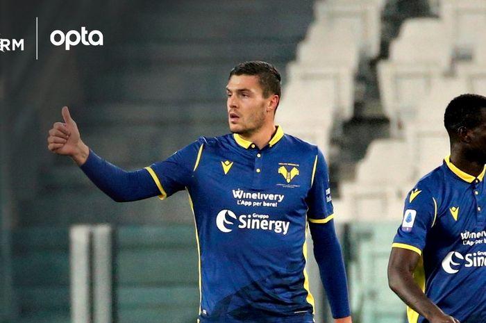Andrea Favilli, penyerang Hellas Verona yang jadi mimpi buruk Juventus  di Allianz Stadium, Minggu (24/10/2020) atau Senin dini hari WIB.