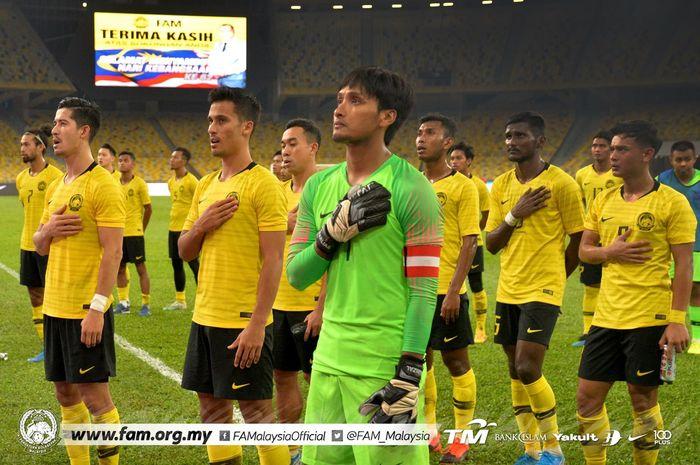 Skuat timnas Malaysia saat menghadapi Yordania di Stadion Nasional Bukit Jalil, Kuala Lumpur, Jumat (30/8/2019).
