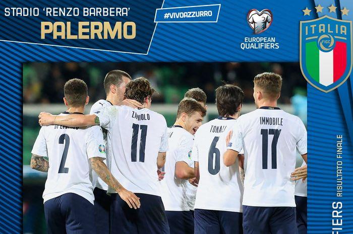 Para pemain timnas Italia merayakan golnya pada pertandingan kualifikasi Euro 2020 antara Italia vs Armenia di Stadion Renzo Barbera, 18 November 2019.