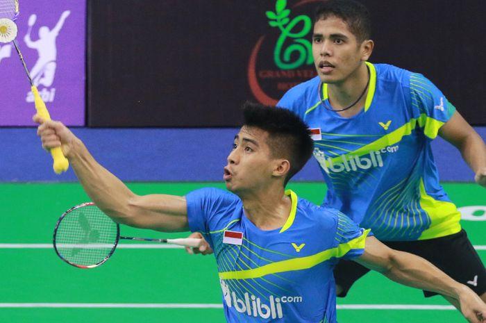 Ganda putra Indonesia, Sabar Karyaman Gutama (depan) dan Frengky Wijaya Putra (belakang).