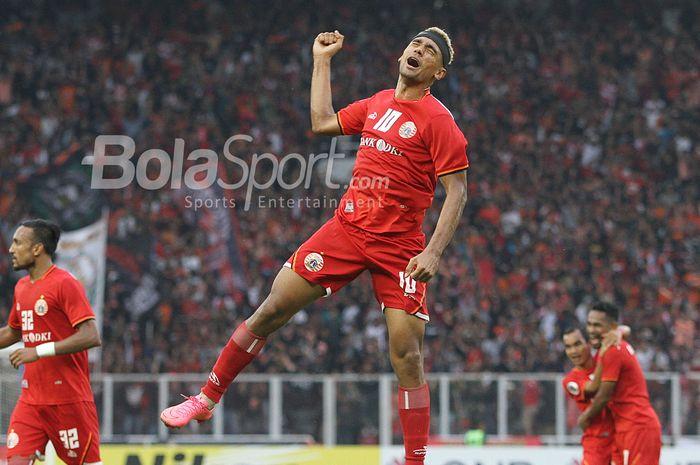 Pemain Persija Jakarta, Bruno Matos merayakan gol ke gawang Ceres Negros FC pada laga penyisihan Grup G AFC CUP di Stadion Utama Gelora Bung Karno, Senayan, Jakarta,  Selasa (23/4/2019) dalam laga tersebut persija harus mengakui kekalahannya melawan Ceres dengan skor 2-3.