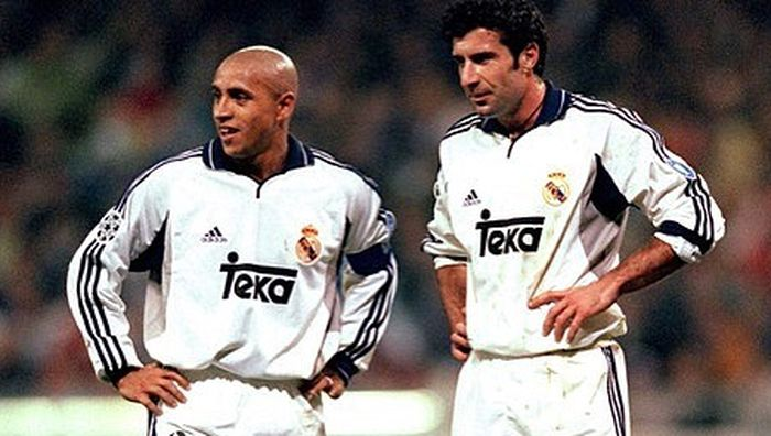 Roberto Carlos (kiri) bersama Luis Figo (kanan)