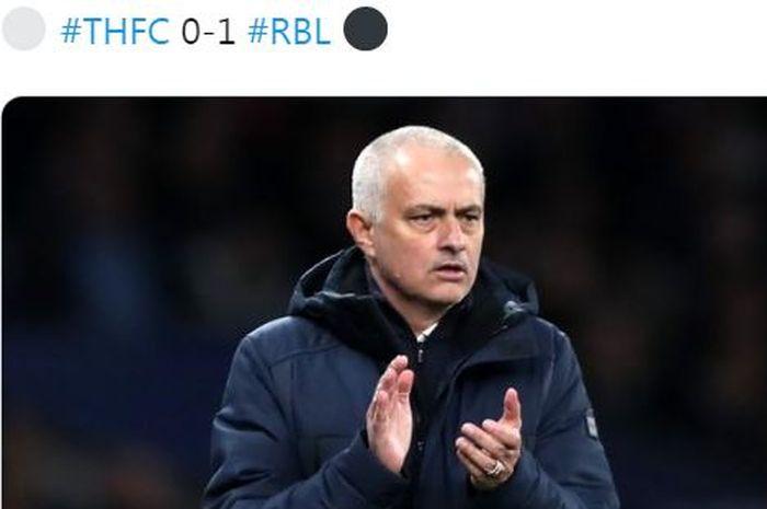 Ekspresi pelatih Tottenham Hotspur, Jose Mourinho, dalam laga leg pertama babak 16 besar Liga Champions kontra RB Leipzig di Tottenham Hotspur Stadium, Rabu (19/2/2020).