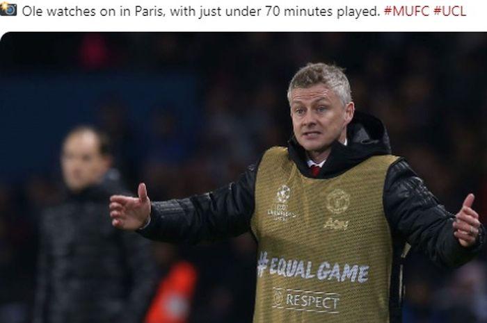 Ekspresi pelatih interim Manchester United, Ole Gunnar Solskjaer, dalam laga leg kedua babak 16 besar Liga Champions melawan Paris Saint-Germain di Stadion Parc des Princes, 6 Maret 2019.
