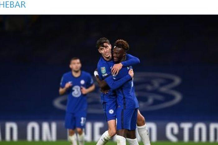 Gelandang serang Chelsea, Kai Havertz (tengah), merayakan gol yang dicetak ke gawang Barnsley dalam laga babak ketiga Piala Liga Inggris di Stadion Stamford Bridge, Rabu (23/9/2020).