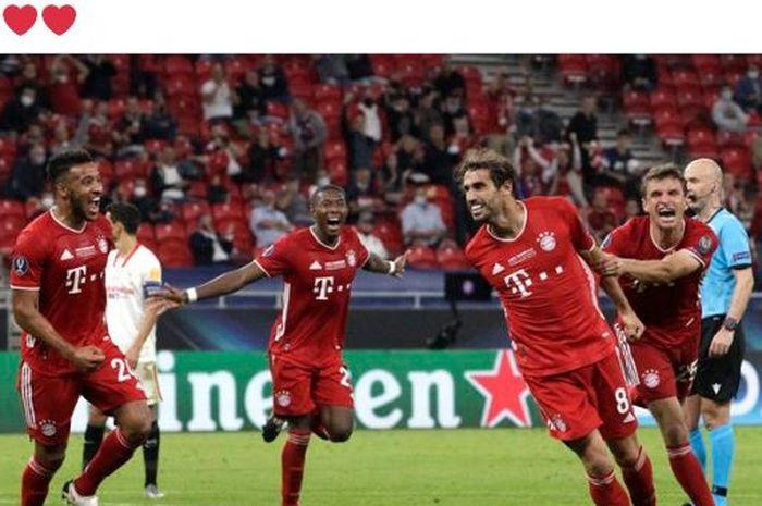 Pencetak gol spesialis menit 100 milik Bayern Muenchen beraksi yang membuat timnya juara Piala Super Eropa di Stadion Puskas Arena, Kamis (24/9/2020).