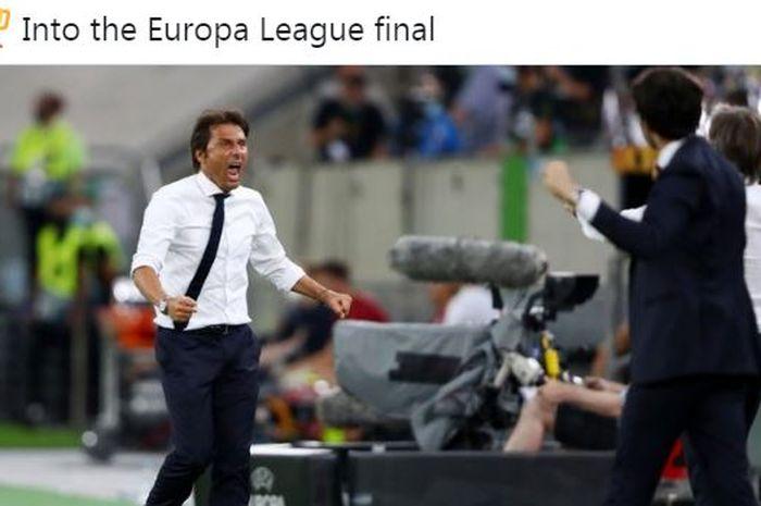 Pelatih Inter Milan, Antonio Conte, menunjukkan ekspresi berteriak.