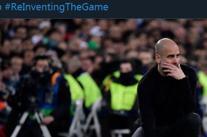 Ekspresi pelatih Manchester City, Pep Guardiola, dari tepi lapangan.