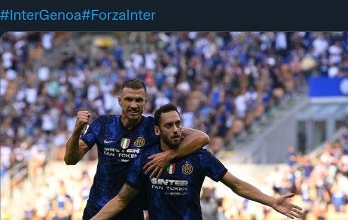Edin Dzeko dan Hakan Calhanoglu membuat gol  dan assist dalam debut sebagai pemain Inter Milan di Liga Italia kontra Genoa.