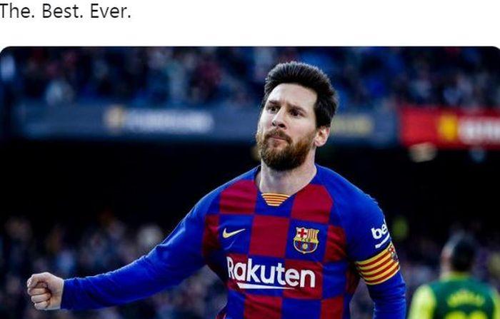 Megabintang Barcelona, Lionel Messi, merayakan gol yang dicetak ke gawang Eibar dalam laga Liga Spanyol di Stadion Camp Nou, Sabtu (22/2/2020).