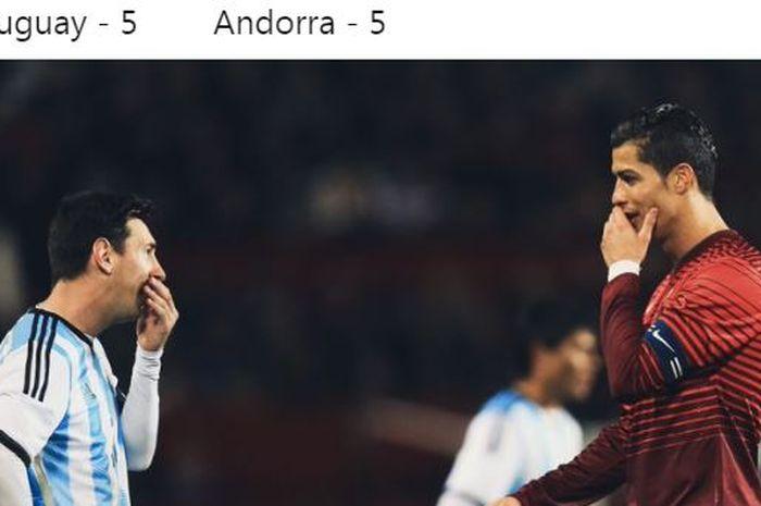 Kapten timnas Argentina, Lionel Messi, memiliki ekspresi yang sama dengan kapten timnas Portugal, Cristiano Ronaldo.