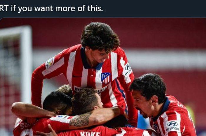 Para pemain <a href='https://manado.tribunnews.com/tag/atletico-madrid' title='AtleticoMadrid'>AtleticoMadrid</a> merayakan gol.