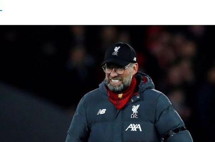 Ekspresi pelatih Liverpool, Juergen Klopp, seusai laga Liga Inggris kontra West Ham United di Stadion Anfield, Senin (24/2/2020).