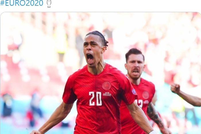 Gol cepat Yussuf Poulsen pada menit kedua bawa timnas Denmark bungkam timnas Belgia pada babak pertama.