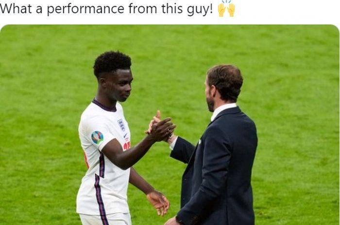 Wonderkid Arsenal, Bukayo Saka, membayar kepercayaan Gareth Southgate dengan meraih man of the match lawan Republik Ceska.