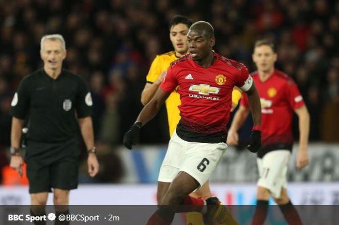 Paul Pogba dalam laga Piala FA antara Wolverhampton Wanderers vs Manchester United, 16 Maret 2019.