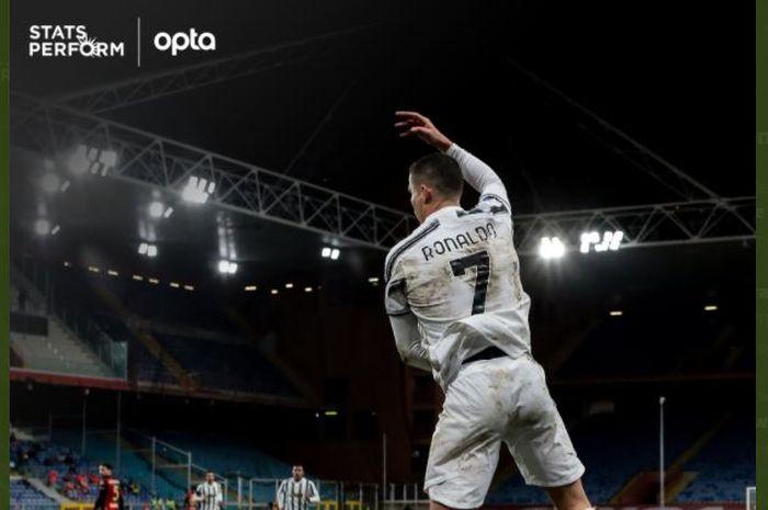 Cristiano Ronaldo merayakan golnya untuk Juventus.