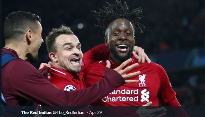 Striker <a href='https://pekanbaru.tribunnews.com/tag/liverpool' title='Liverpool'>Liverpool</a>, Divock Origi, berselebrasi seusai menjebol gawang Barcelona pada semfinal Liga Champions, 7 Mei 2019.