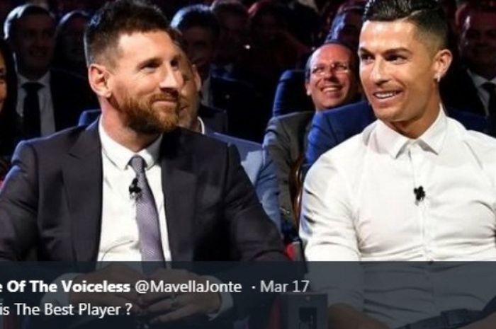 Lionel Messi dan Cristiano Ronaldo saat bertemu dalam acara UEFA.