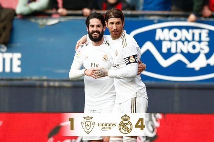 Isco dan Sergio Ramos merayakan kemenangan Real Madrid atas Osasuna, Minggu (9/2/2020).