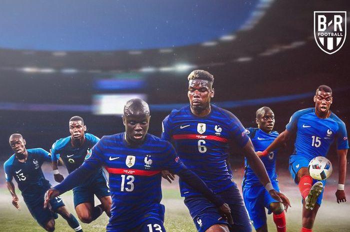 Duet dua pemain timnas Prancis, N'Golo Kante dan Paul Pogba, mencatatkan rekor gemilang tak terkalahkan.