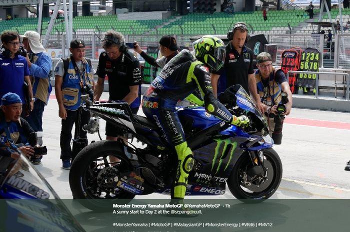 Pembalap Monster Energy Yamaha, Valentino Rossi lakukan persiapan jelang MotoGP Malaysia 2019, Sabtu (2/11/2019)