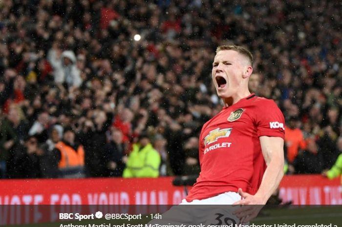 Scott McTominay berhasil cetak gol kedua untuk Manchester United saat kalahkan Manchester City pada Derbi Manchester, Minggu (8/3/2020) pukul 23.30 WIB.