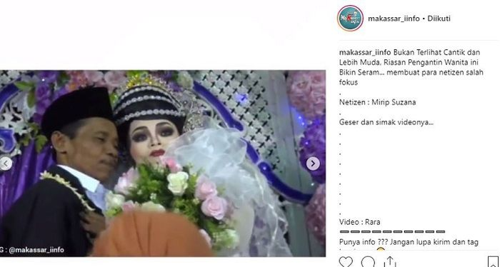 Potret riasan pengantin perempuan yang buat netizen ketakutan