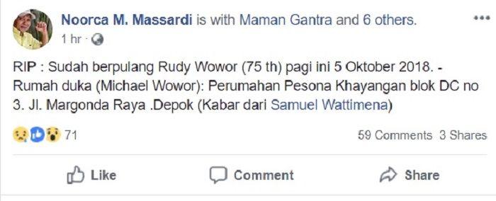Ungahan Noorca Marenda Massardi yang mengabarkan Rudy Wowor meninggal dunia