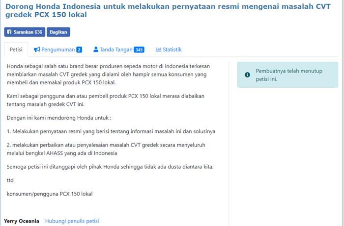 Petisi online untuk masalah gredek CVT Honda PCX 150