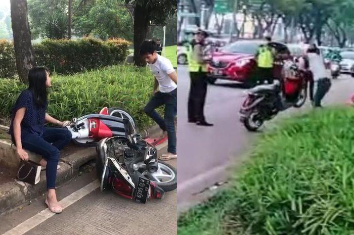 Video viral pria hancurkan motor Honda Scoopy