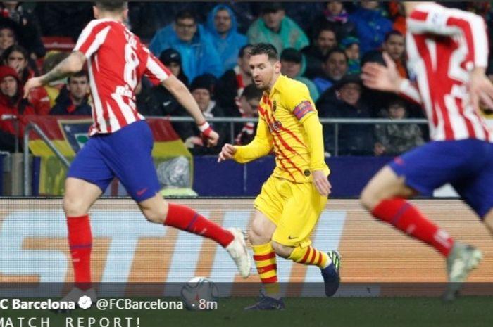 Aksi megabintang Barcelona, Lionel Messi, dalam laga meawan Atletico Madrid di Wanda Metropolitano, Minggu (1/12/2019).