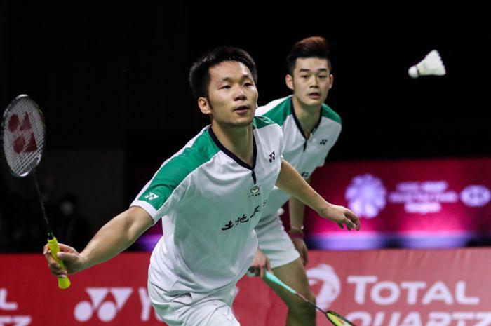 Pasangan ganda putra Taiwan, Lee Yang/Wang Chi Lin, pada semifinal BWF World Tour Finals 2020 di Impact Arena, Bangkok, Sabtu (30/1/2021).