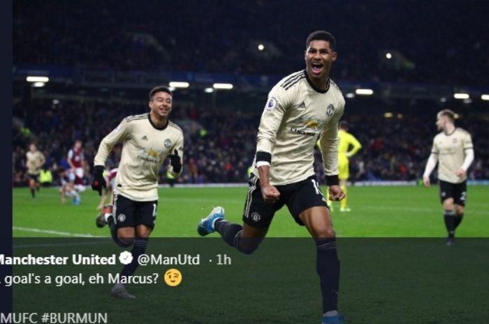 Striker Manchester United, Marcus Rahsford, menjebol gawnag Burnley dalam laga pada Sabtu (28/12/2019).