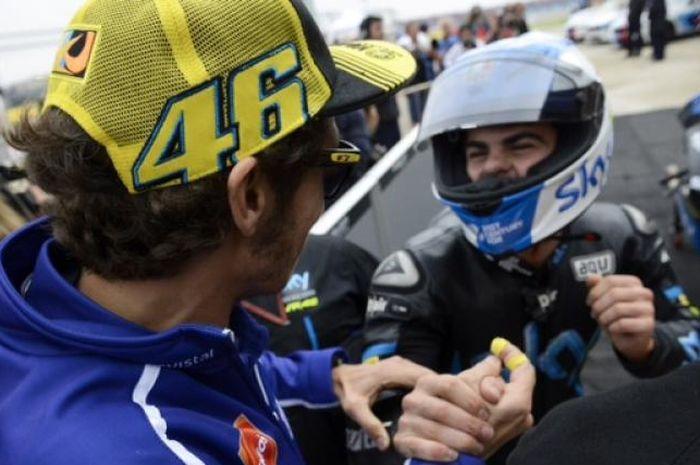 Valentino Rossi bersama Romano Fenati saat masih di SKY VR46 tahun 2014
