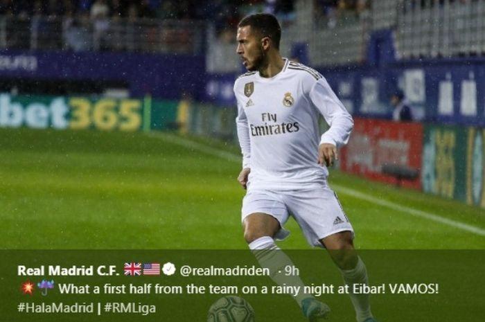 Aksi bintang Real Madrid, Eden Hazard, dalam laga kontra Eibar di Ipurua pada Sabtu (9/11/2019).