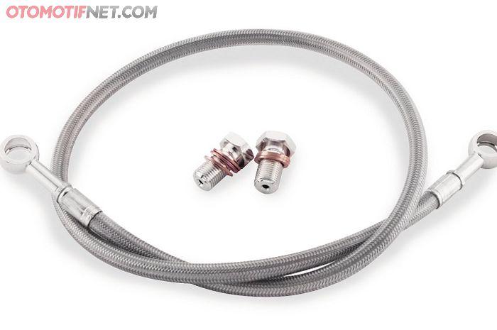 Selang rem braided atau dirajut stainless lebih tahan panas dan tekanan lebih stabil