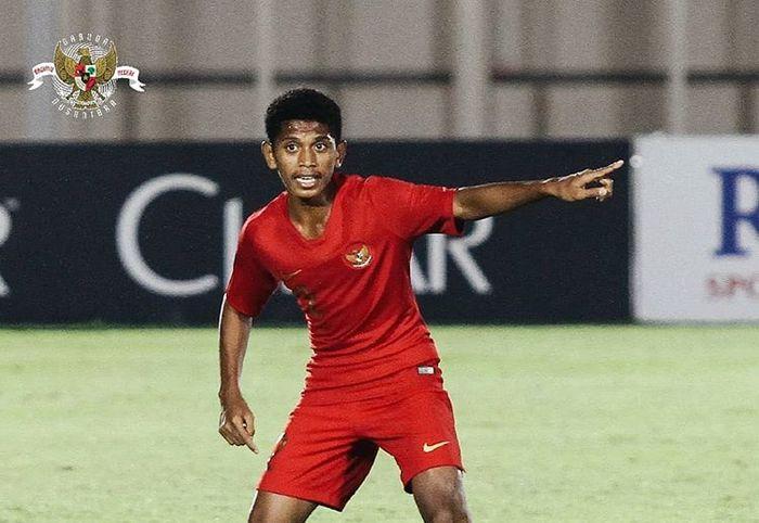 Pemain asal Ambon, Alfin Lestaluhu, saat membela timnas U-16 Indonesia di Kualifikasi Piala Asia U-16 2020.