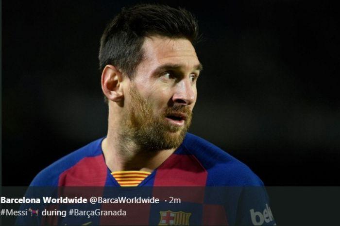 Megabintang Barcelona, Lionel Messi, dalam laga kontra Granada di Camp Nou, Minggu (19/1/2020).