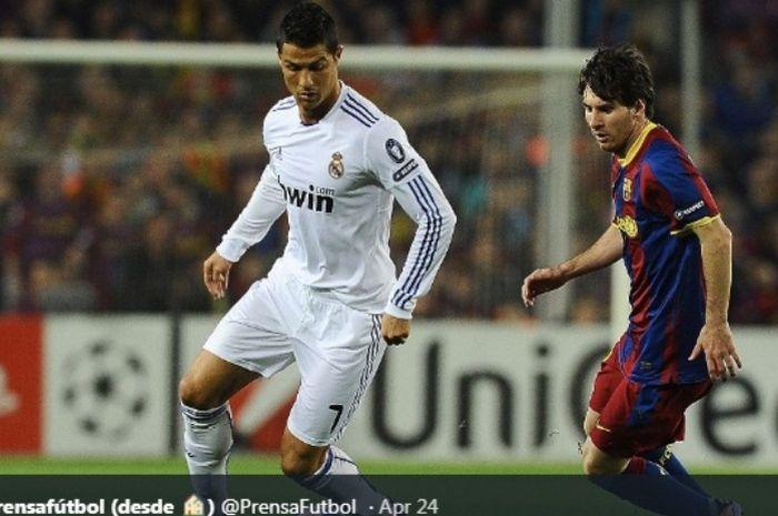 Pertemuan Cristiano Ronaldo dan Lionel  Messi dalam duel Real Madrid versus Barcelona pada2 Mei 2011.