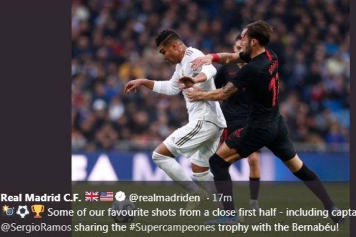 Aksi gelandang Real Madrid, Casemiro, dalam laga kotnra Sevilla di Estadio Santiago Bernabeu, Sabtu (18/1/2020).