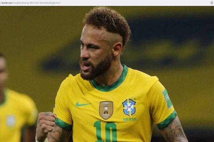 Striker timnas Braisl, Neymar, merayakan gol ke gawang Venezuela pada laga Copa America 2021.