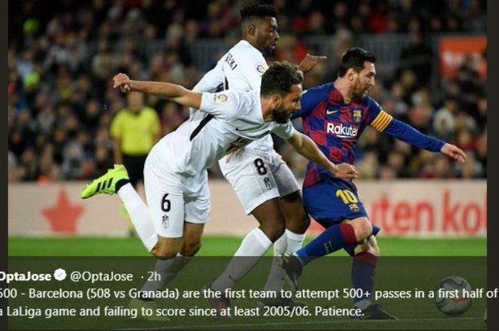 Aksi megabintang Barcelona, Lionel Messi, dalam laga kontra Granada di Camp Nou, Minggu (19/1/2020).