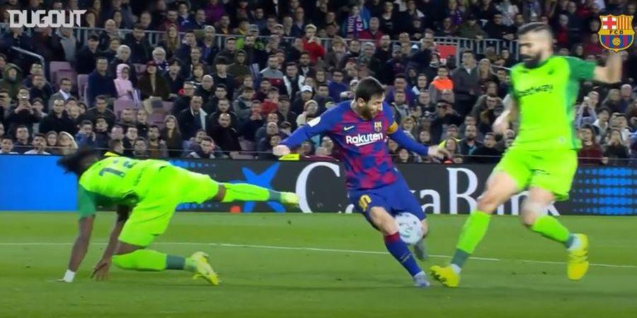 VIDEO - Gol Lionel Messi Kontra Leganes, Bola Sempat Nyangkut di Paha