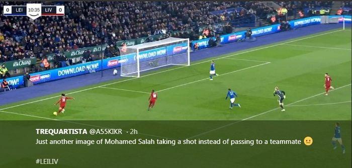 Aksi penyerang Liverpool, Mohamed Salah, dalam laga melawan Leicester City di King Power Stadium, Kamis (26/12/2019).