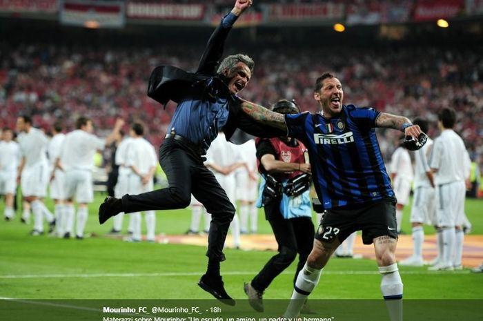 Marco Materazzi dan Jose Mourinho ketika bersama membela Inter Milan